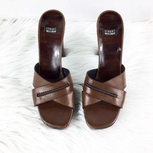 Stuart Weitzman Leather Chunky Heel Slip on Heels